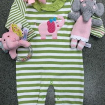 Green & White Elephant Romper