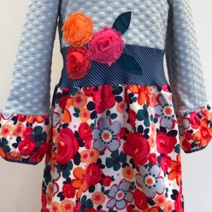 Grey Polkadot Rose Dress