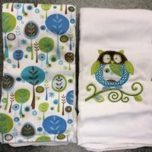 Blue Green Brown Owl Burpcloths