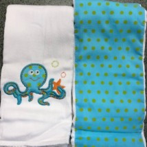 Blue Octopus Burpcloths