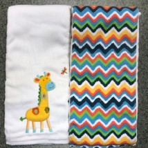 Blue Orange Giraffe Burpcloths