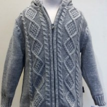 Knit Hooded Grey Zip Up Jacket
