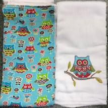 Pink Blue & Green Owl Burpcloths