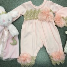 Pink & Gold Romper w Pink Flowers