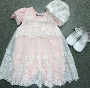 Pink Romper w White Lace Overlay
