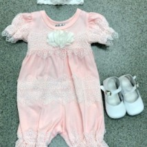 Pink Romper w small white crochet flowers
