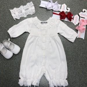 White Romper w Crochet Detailing