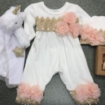 White and Gold Romper w Pink Flowers