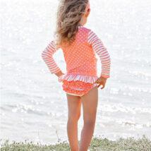 Coral Stripe Polka Dot Long Sleeve Rash Guard 2