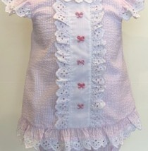 Pink Seersucker Bow Bloomer Set 1