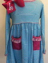 Turqoise and Hot Pink Stripe Dress monogrammable