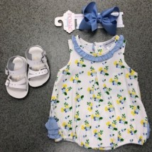 Blue & Yellow Flower Romper