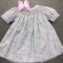 Mint Floral Smocked Dress