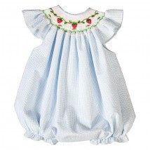 Strawberry Smocked Blue Seersucker Bubble