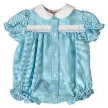 Turq Smocked Gingham Bubble