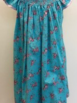 Turquoise Pink Roses Smock Dress