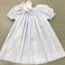 Blue Smocked Day Dress