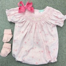 Pink Floral Smocked Bubble