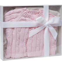 Pink Cardigan Hat Set