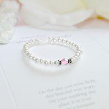 Pink Crystal Pearl Bracelet