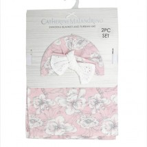 Pink Floral Swaddle and Hat