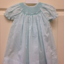 Mint smocked Dress with pink roses
